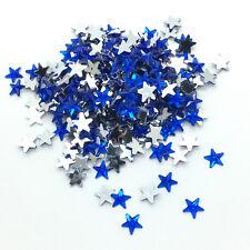 100pcs 10mm Blue STARS Resin Rhinestone Gems Flat Back Crystal Beads