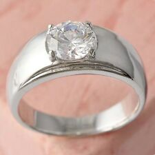 Vintage Womens Mens Clear Crystal 14K White Gold Plated Silver Band Ring Size8