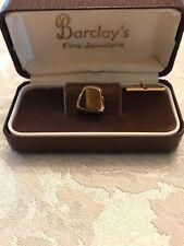 Vintage Tigers Eye Tie Tack  Still in Jewelers Box