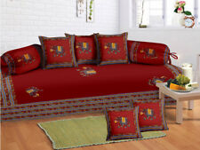 100 % Cotton Elephant Red Diwan Set Diwan Cover Cushion Covers Bolster Covers