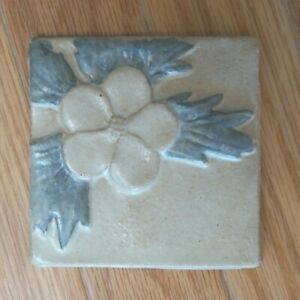 "Stoneware Relief Tile Kuilema Pottery Ceramic 4"" Ivory w Blue Glaze NOS Hepatica"