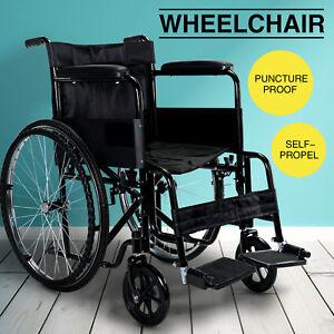 Folding Self Propelled Lightweight Travel Transit Wheelchair Hand Brake Black