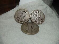 1941, 1943 & 1943 d walking liberty half dollar lot of three