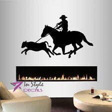 Vinyl Decal Cowboy Lasso Calf Roping Horse Western Boy Guy Man Wall Sticker 2400