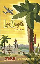 VINTAGE LOS ANGELES TWA TRAVEL A4 POSTER PRINT