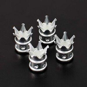 4 CHROME KING CROWN CNC BILLET ALUMINUM TIRE VALVE STEM CAPS FOR TOYOTA
