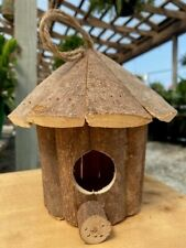 Natural Wood Bird House for Nesting by Garden or Patio