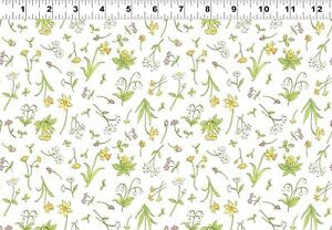 Clothworks Guess How Much I Love You Spring Flowers Fabric 100% Cotton