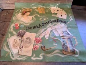 """Antique 1906 Victorian Silk Screen """"For He's A Jolly Good Fellow"""" Pillow Top"""