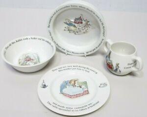 4x Wedgwood Beatrix Potter PETER RABBIT Childs Dinnerware Set PLATE,BOWL,MUG-232