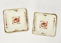 Lot of 2 Vintage Otagiri Stoneware Small Square Trinket Dish Handpainted Floral