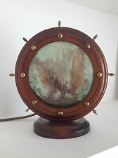 Vintage 1950s Wood & Plastic Kitsch Ships Wheel With Nautical Relief Lamp