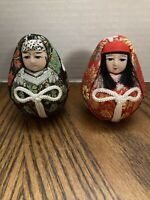 "2 Vintage Japanese Kokeshi Doll Gilt Ornaments Cloth Kimono Geisha Decor 3"" Tall"