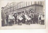 DOWNTOWN WILLOUGHBY OHIO RPPC WHEELBARROW RACE ON ERIE ST FRONT SMART BLDG 1913