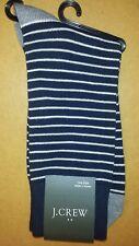 J.Crew Midnight Navy Blue White Pin Striped Socks Men's One Size NWT