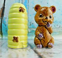 Vintage Bear Cub & Bee Hive Salt and Pepper Shakers Japan Porcelain/Ceramic
