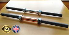 CUSTOM LENGTH Dumbbell Weight Bar Handle Set with Spinlock Solid Metal Steel 1''
