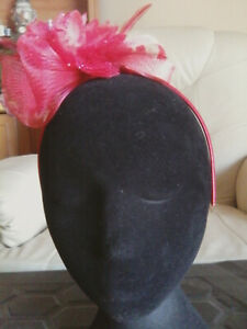 Fascinator - red sinamay  with feathers & beads on  on a headband