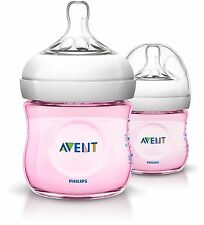 AVENT NATURAL FEEDING BOTTLE 125ML 2 PACK - PINK
