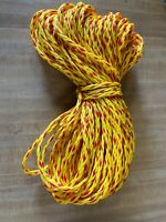 """1/4"""" x 150 ft. of 8 Strand Hollow Braid Polypropylene rope. Yellow/red. US Made"""
