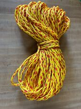"""1/4"""" x 150 ft. of 8 Strand Hollow Braid Polypropylene rope. Yellow/red. Usa Made"""