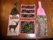 CAMO CROCHET KITCHEN TOWELS DISH CLOTH & POT HOLDER