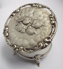 SUPERBE Clean condition Anglais Antique 1905 argent massif angelots Jewel Ring Box
