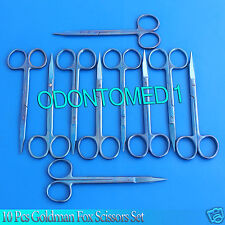 Set Of 10 Pcs Goldman Fox Scissors Str+Cvd Titanium Surgical Instrument T.T-117