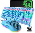 PC Mechanical Gaming Keyboard Mouse Set LED Backlit 6400DPI Honeycomb Mice Wired