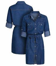 Womens Denim Shirt Dress Cotton Blue Casual Dresses Size 14 10 12 16 8 New