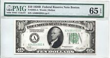FR 2002-A 1928B  $10 FEDERAL RESERVE NOTE BOSTON  PMG 65EPQ