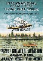 1913 CHICAGO TO DETROIT GREAT LAKES AVIATION AIRPLANE RACE MEET 12x18 POSTER