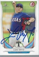 luis ortiz signed card autographed topps bowman 2014 texas rangers auto mlb milb
