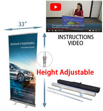 """Retractable roll up banner stands 33"""" Height Adjustable Trade Show Display"""