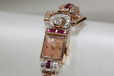 1940 ANTIQUE 14K PINK ROSE GOLD LADYS DIAMOND RUBY HAMILTON WATCH SWISS 17J 911