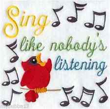 SINGING CARDINAL EMBROIDERED BATHROOM HAND TOWELS SET 2 BY LAURA