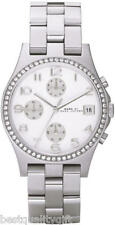 NEW MARC JACOBS SILVER TONE,CRYSTALS CHRONO WATCH-MBM3072