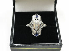 Fine Art Deco 18K White Gold Old European Cut Gem Sapphire Ring 0.50CT
