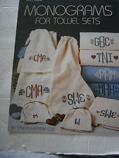 1987 Monograms For Towel Sets Cross Stitch Pattern Book Pineapple House Heart