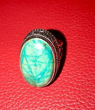 Green Jasper Antique  Design Handmade Ring Size-8.5