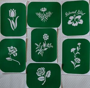7 x Flower-2 Body Art Stencils And Glass Etching Stencils Glitter Stencil Art
