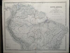 1867 South America (North Part) Large Hand Coloured Antique Map by Johnston