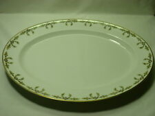 "Haviland Limoges 16"" Oval Serving Platter White Pink/Black Flower Gold Leaf"