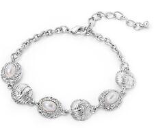 Vintage Style Silver Knot & Oval Pearl Bead Crystal Link Bracelet