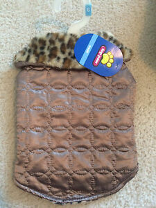 NWT Top Paw Quilted Bronze Dog Coat Jacket Lined w Leopard Fur SMALL