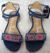 George Asda Girls Flat Buckle Fasten Sandal Blue Denim Pink Floral Size 2