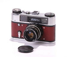 FED 5C LEICA Rangefinder Camera Industar Lens Red Leather CLA WARRANTY EXC