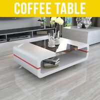 MODERN HIGH GLOSS WHITE COFFEE TABLE WITH BLACK GLASS TOP LIVING ROOM