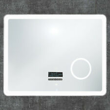 BAD-SPIEGEL 80x60cm BLUETOOTH Touch Beschlagfrei LED Uhr Beleuchtung Wandspiegel
