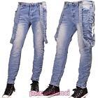 Jeans uomo bretelle blu chiaro slim fit pantaloni casual denim nuovo M828236